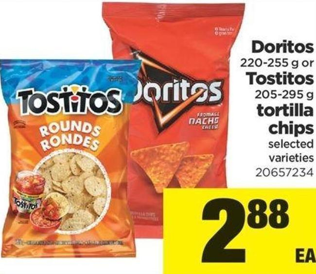 Doritos - 220-255 G Or Tostitos - 205-295 G Tortilla Chips