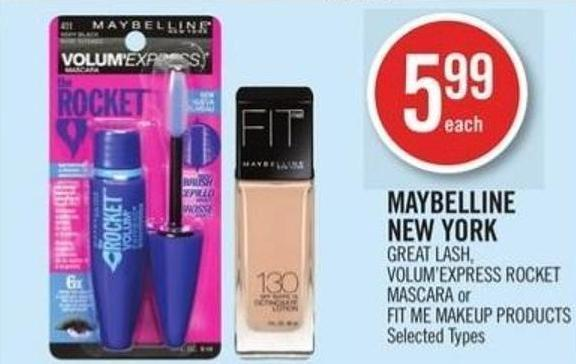 Maybelline New York Great Lash - Volum'express Rocket Mascara or Fit Me Makeup Products