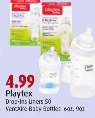 Playtex Drop-ins Liners 50 Ventaire Baby Bottles 6oz - 9oz
