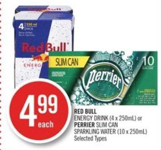 Red Bull Energy Drink (4 X 250ml) or Perrier Slim Can Sparkling Water (10 X 250ml)