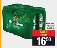 Heineken Beer Tall Cans 6x500 Ml