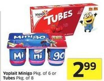 Yoplait Minigo Pkg of 6 or Tubes Pkg of 8