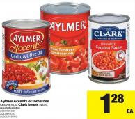 Aylmer Accents Or Tomatoes - 540/796 Ml Or Clark Beans - 398 Ml