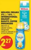 Neilson Creams - 5% or 10% 1 L - International Delight or Baileys Coffee Enhancers - 400/473 mL