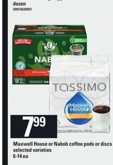 Maxwell House Or Nabob Coffee PODS Or Discs