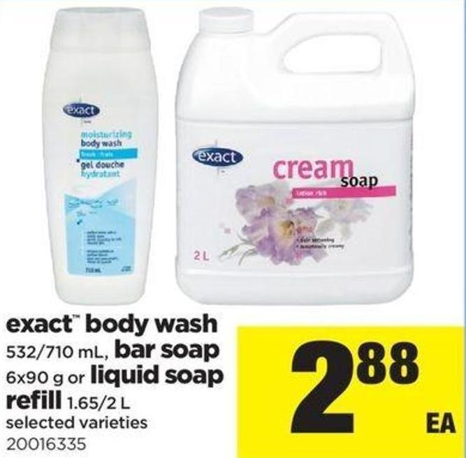 Exact Body Wash - 532/710 Ml - Bar Soap - 6x90 G Or Liquid Soap Refill - 1.65/2 L