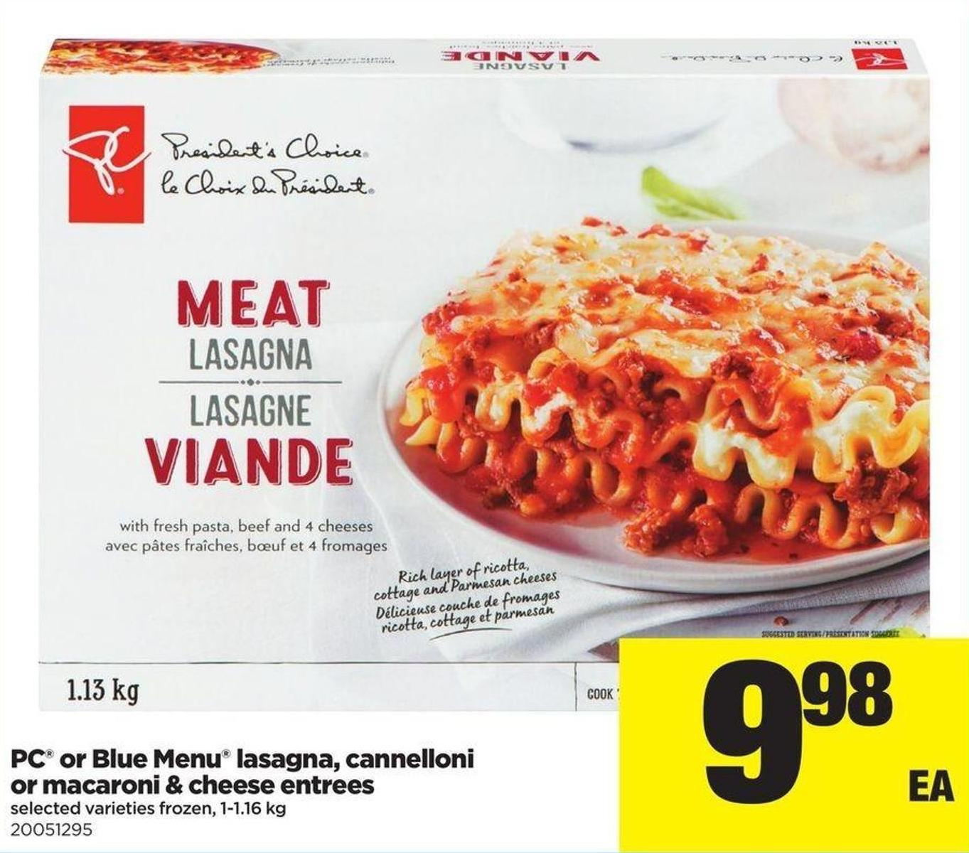 PC Or Blue Menu Lasagna - Cannelloni Or Macaroni & Cheese Entrees - 1-1.16 Kg
