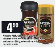 Nescafé Rich - Gold - Taster's Choice Instant Coffee 100-170 G Or Nescafé Sweet And Creamy 396 G