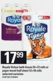 Royale Velour Bath Tissue 24=72 Rolls Or Paper Towel Half Sheet 12=18 Rolls