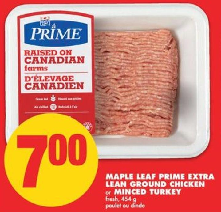 Maple Leaf Prime Extra Lean Ground Chicken Or Minced Turkey - 454 G