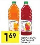 Compliments Fruit Cocktail Drinks 2 L
