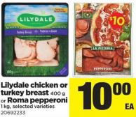 Lilydale Chicken Or Turkey Breast - 400 G Or Roma Pepperoni - 1 Kg