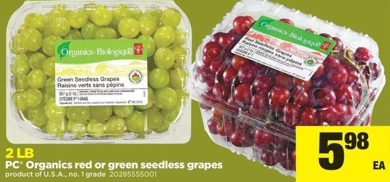 PC Organics Red Or Green Seedless Grapes - 2lb