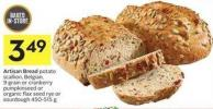 Artisan Bread Potato Scallion - Belgian - 9 Grain or Cranberry Pumpkinseed or Organic Flax Seed Rye or Sourdough 450-515 g