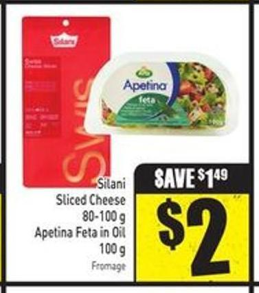 Silani Sliced Cheese 80-100 g Apetina Feta In Oil 100 g
