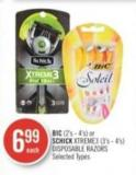 Bic (2's - 4's) or Schick Xtreme3 (3's - 4's) Disposable Razors