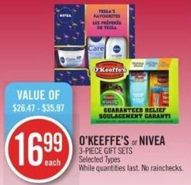 O'keeffe's or Nivea 3-piece Gift Sets