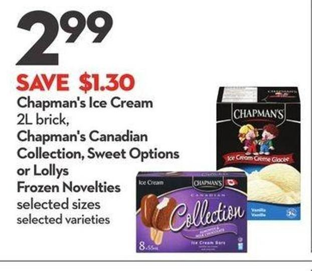 Chapman's Ice Cream 2l Brick - Chapman's Canadian Collection - Sweet Options or Lollys Frozen Novelties