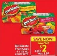 Del Monte Fruit Cups 4 X112 ml
