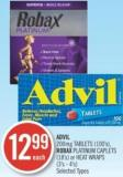 Advil 200mg Tablets (100's) - Robax Platinum Caplets (18's) or Heat Wraps (3's - 4's)