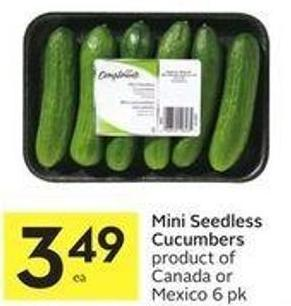 Mini Seedless Cucumbers Product of Canada or Mexico 6 Pk