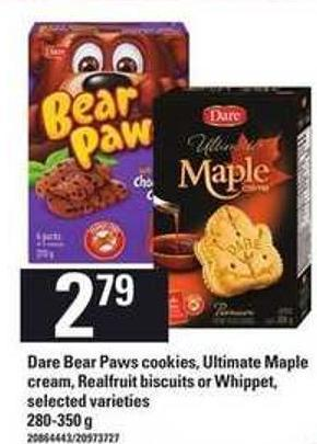 Dare Bear Paws Cookies - Ultimate Maple Cream - Realfruit Biscuits Or Whippet - 280-350 G