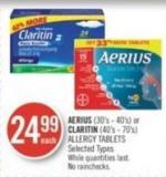 Aerius (30's - 40's) or Claritin (40's - 70's) Allergy Tablets