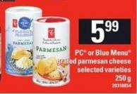 PC Or Blue Menu Grated Parmesan Cheese - 250 G