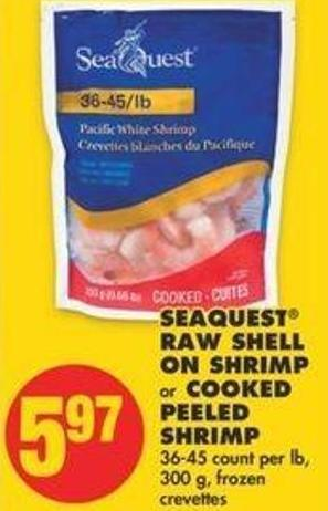Seaquest Raw Shell On Shrimp Or Cooked Peeled Shrimp - 36-45 Count Per Lb - 300 G
