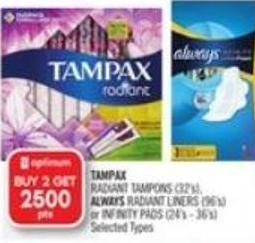 Tampax Radiant Tampons (32's) - Always Radiant Liners (96's) or Infinity Pads (24's - 36's)