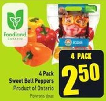 4 Pack Sweet Bell Peppers Product of Ontario