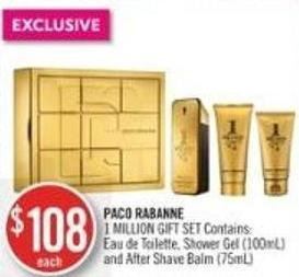 Paco Rabanne 1 Million Gift Set Contains: Eau De Toilette - Shower Gel (100ml) and After Shave Balm (75ml)