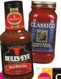 Classico Pasta Sauce 218-650 mL or Bull's-eye Bbq Sauce 425 mL