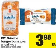 PC Brioche Burger Buns - 300 g or Loaf - 400 g