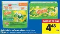 Gain Fabric Softener Sheets - 105-120's Or Flings - 14's