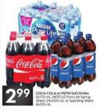 Coca-cola or Pepsi Soft Drinks 6x710 mL - Nestlé Pure Life Spring Water 24x500 mL or Sparkling Water 8x355 mL