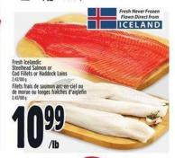 Fresh Icelandic Steelhead Salmon or Cod Fillets or Haddock Loins