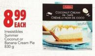 Irresistibles Summer Coconut Or Banana Cream Pie 830 g