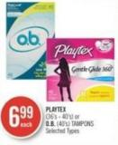 Playtex (36's - 40's) or O.b. (40's) Tampons