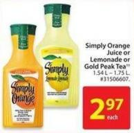 Simply Orange Juice or Lemonade or Gold Peaktea 1.54 L- 1.75 L.