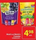 Mott's or Welch's Freezies
