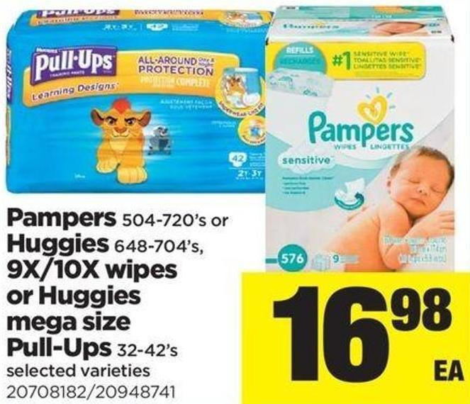 Pampers - 504-720's Or Huggies - 648-704's - 9x/10x Wipes Or Huggies Mega Size Pull-ups - 32-42's