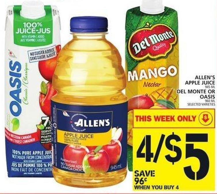 Allen's Apple Juice Or Del Monte Or Oasis