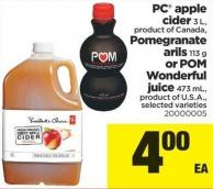 PC Apple Cider - 3 L - Pomegranate Arils - 113 g - Wonderful Juice - 473 mL