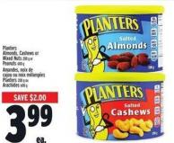 Planters Almonds - Cashews Or Mixed Nuts 200 G Or Peanuts 600 G