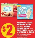 Kellogg's Rice Krispies Bars - 160-200 g - Nutri Grain Bars - 295 g - Pop Tarts - 140/400 g or Special K Bars - 125 g