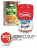 Campbell's Soup At Hand (284ml) - Heinz Pasta or Beans (398ml)