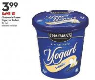 Chapman's Frozen  Yogurt or Sorbet  2l Tub