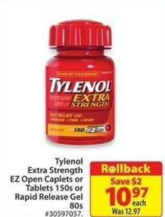 Tylenol Extra Strength Ez Open Caplets or Tablets 150s or Rapid Release Gel 80s