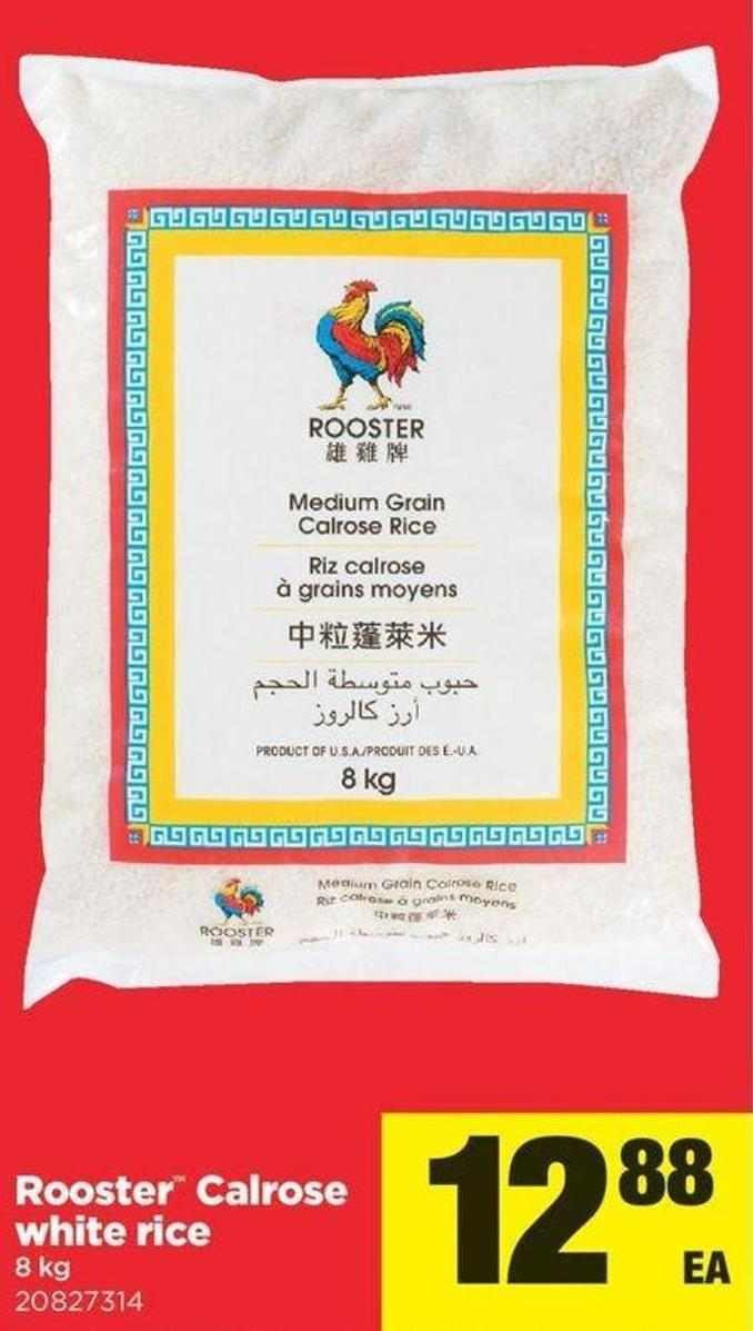 Rooster Calrose White Rice - 8 Kg